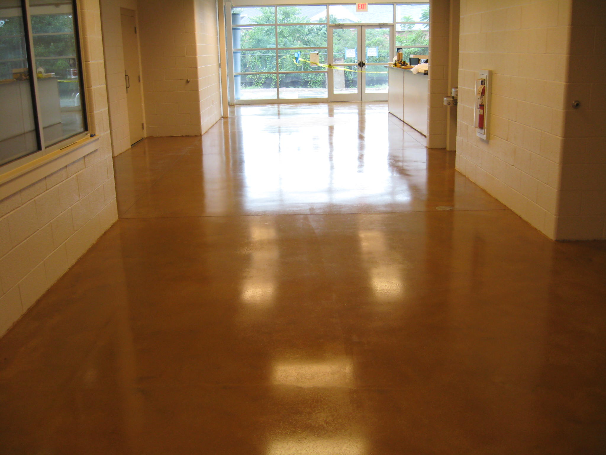 Stained Concrete Floor in Commercial Building.