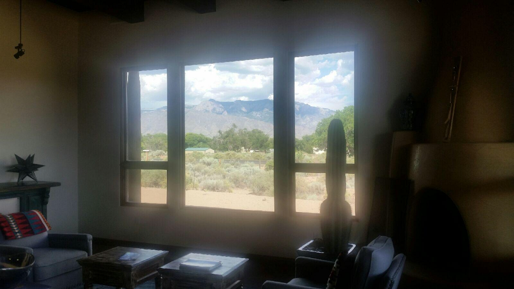 Residential window tinting Corrales, inside looking out view
